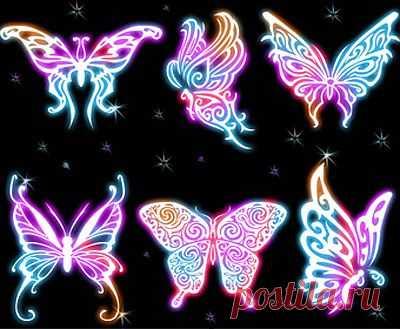Кисти для фотошопа - Неоновые бабочки,  Кисти для фотошопа - Неоновые бабочки без регистрации