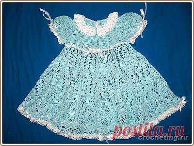 Летнее платье для девочки 6 месяцев, связанное крючком, пример вязания, схема, описание