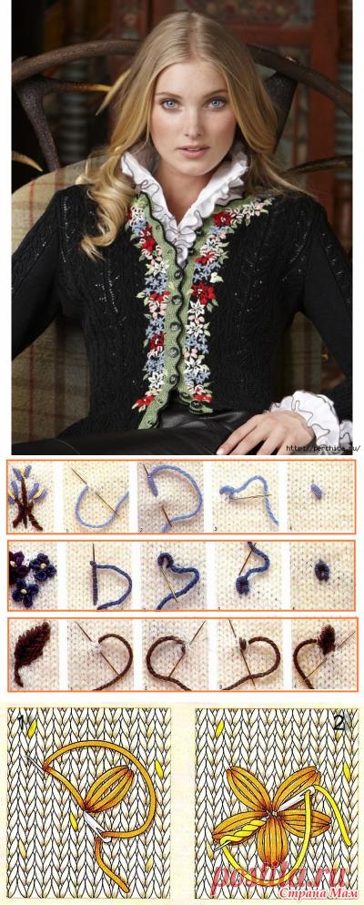 Вышивка на вязаном цветок