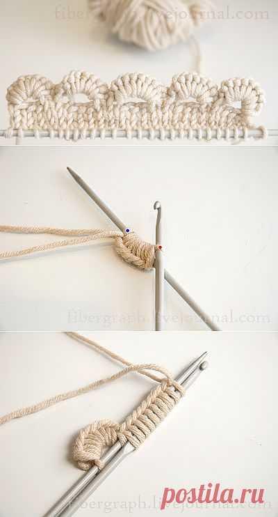 Волнистая кромка для вязанных изделий. Крючок+спицы..