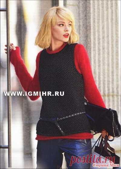 . Модный практичный ансамбль спицами: красный пуловер и черный жилет - Вязание - Страна Мам