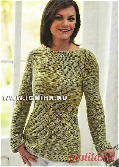 Пуловер с ажурной вставкой (вязание крючком)