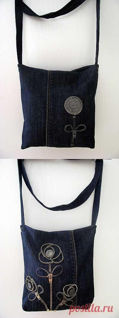 Сумочка с декором молниями / Переделка джинсов / Модный сайт о стильной переделке одежды и интерьера