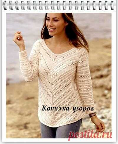 Копилка Узоров / вязание для полных - женский пуловер спицами | Копилка Узоров / схемы вязания | Яндекс Дзен