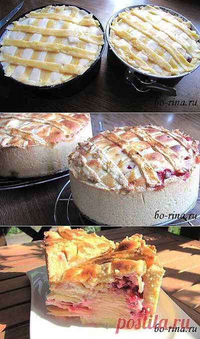 Яблочный пирог с творожной заливкой | Вкусно и красиво!