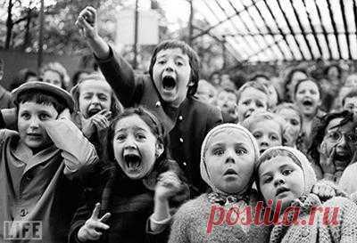 Легендарные фотографии! Эмоции детей во время кукольного представления. На сцене Святой Георгий убивает змея. Alfred Eisenstaedt, 1963