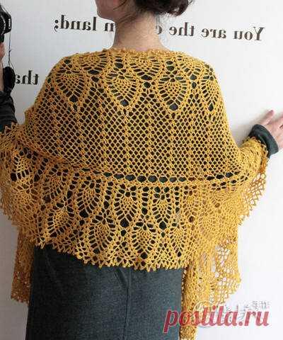 шаль с ананасами крючком вязание крючком шали схемы бактус шаль