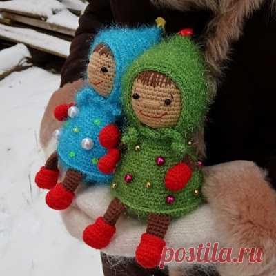1000 схем амигуруми на русском: Новогодняя девочка-елочка