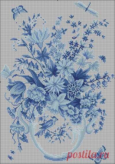 """Вышивка """"Голубые цветы"""""""