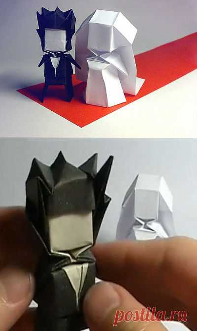 Человечки оригами из бумаги - молодожёны