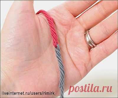 Как соединить концы нитей двух клубков без узла (МК).