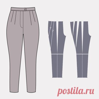 Моделирование брюк, объемных по бедрам Брюки могут могут быть объемными на разных участках. На уровне бедер, по всей длине или быть расклешенными от колена к низу. И в зависимости от этого выбираем разные приемы моделирования.