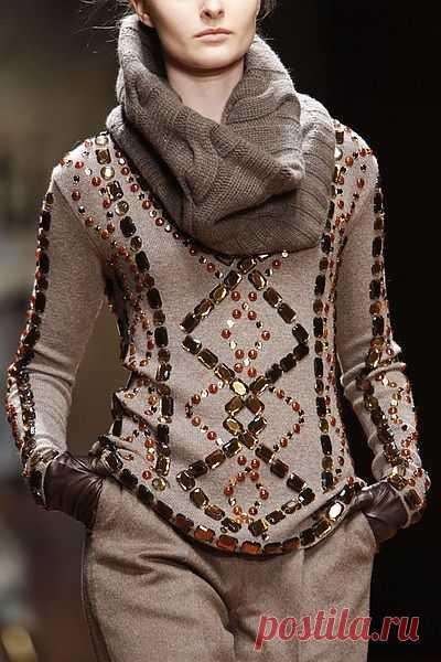 Свитерок с нарядным декором / Свитер / Модный сайт о стильной переделке одежды и интерьера