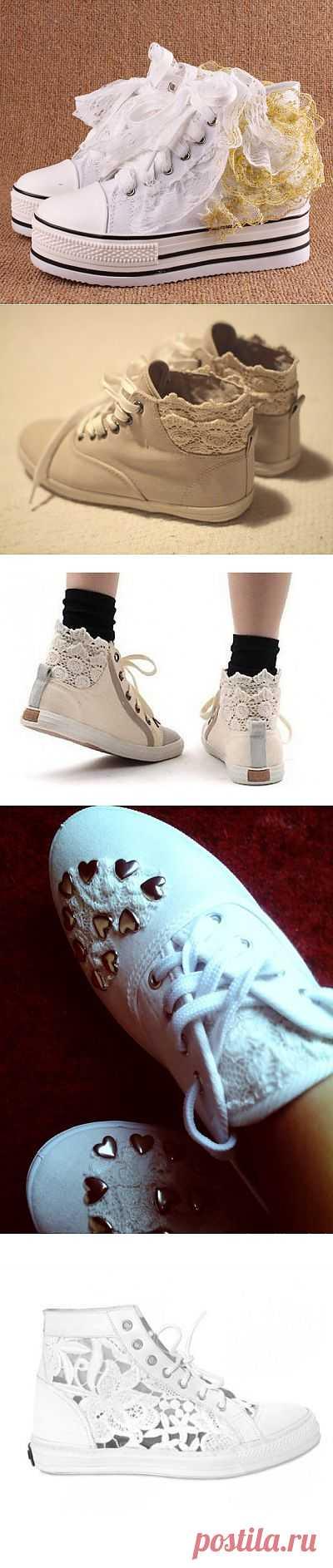 Кеды с кружевом (трафик) / Обувь / Модный сайт о стильной переделке одежды и интерьера
