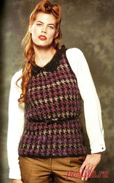 Женская безрукавка узором Гусиные лапки спицами – 3 модели со схемами и описанием — Пошивчик одежды
