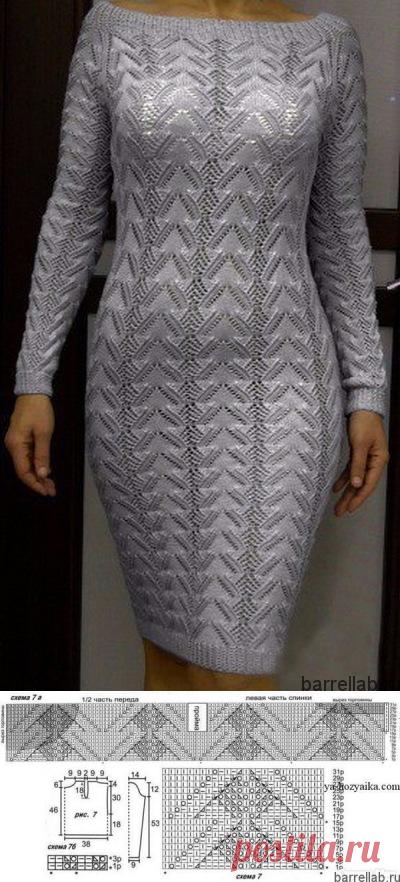 Летнее платье с сердечками спицами. Красивое женское платье спицами | Вязание для всей семьи