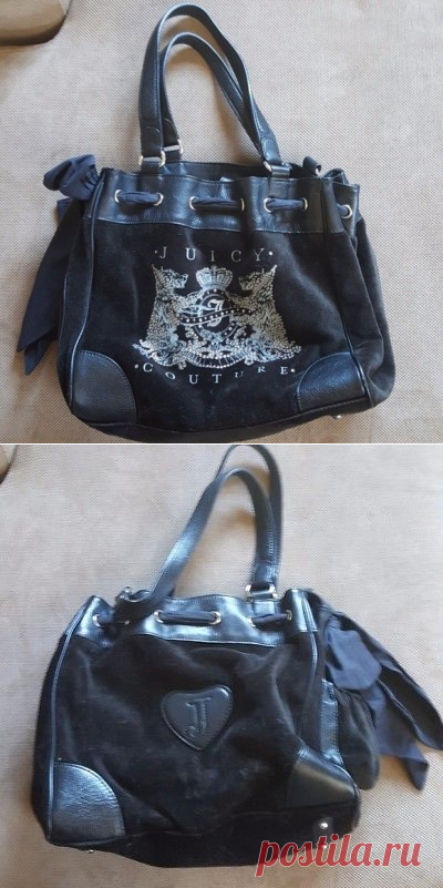 Juicy Couture black shoulder bag with bow and mirror purse heart dogs | eBay