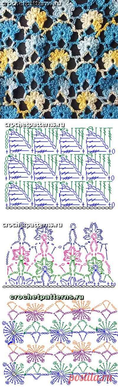 Ажурные узоры крючком + схемы