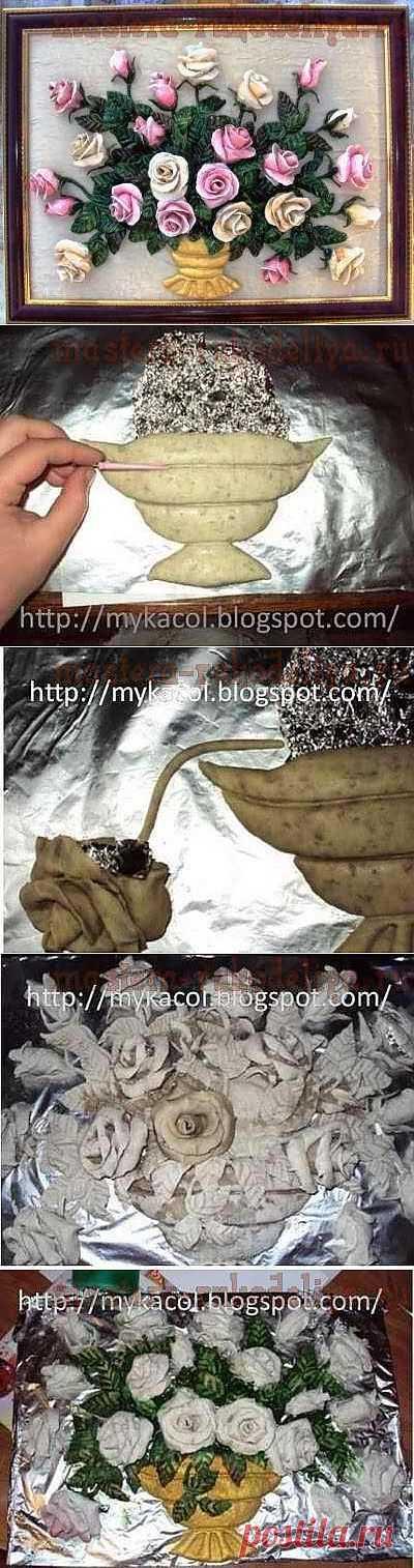 (+1) - Корзина роз из соленого теста. МК Наташи Першиной | СВОИМИ РУКАМИ