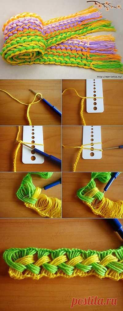 Веселый шарфик, вязание крючком на линейке.