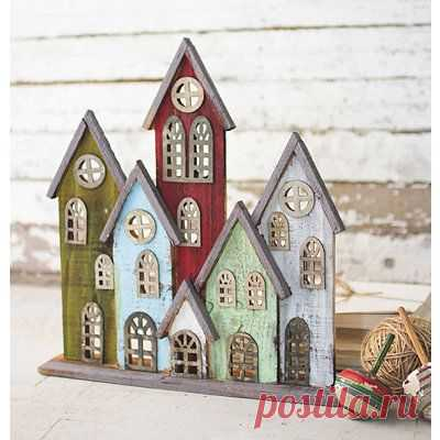 Multicolor Recycled Wood Village Statue