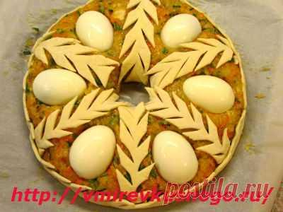 рецепт мясного пирога «Рождественский венок»
