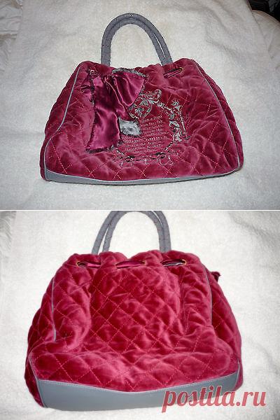 VELOUR JUICY COUTURE HANDBAG SHOULDER BAG PURSE PURPLE GREY GOLD BUCKET MIRROR | eBay