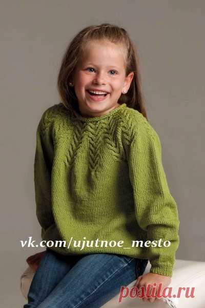 пуловер для девочки с круглой кокеткой размер46 8 1012 лет