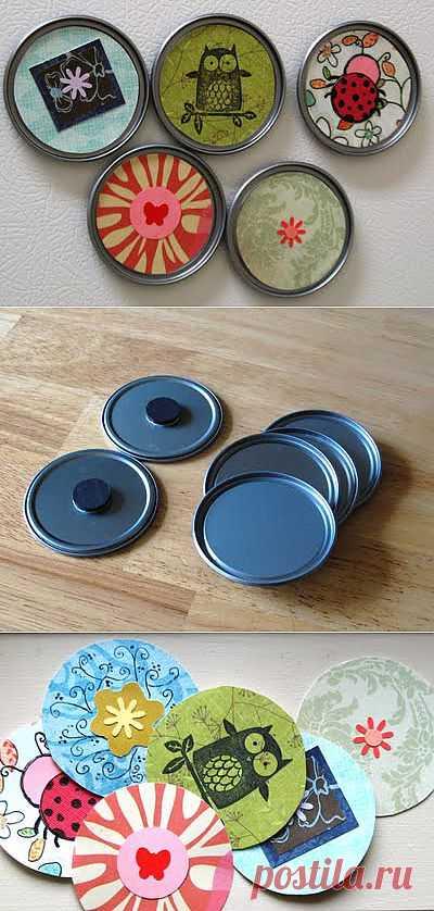 Магнитики из крышек от баночек. С внешней стороны наклейте понравившиеся картинки или фотографии, с обратной стороны - небольшие магнитики!