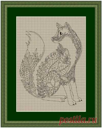 схема для вышивки крестом Лисья весна