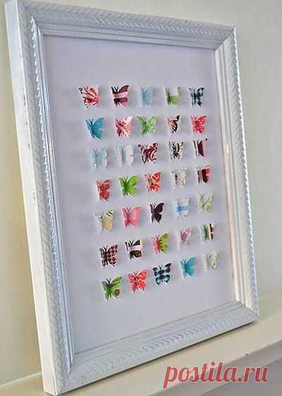 Панно с бабочками из журналов
