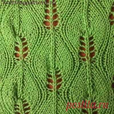 Спицами ажурные узоры Березовые листочки