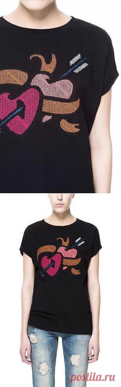Вышитая футболка Zara / Вышивка / Модный сайт о стильной переделке одежды и интерьера