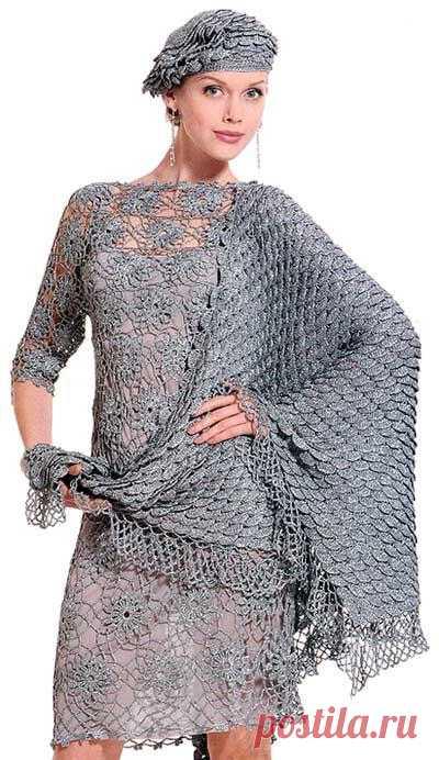 Вечернее платье крючком, ажурный берет и шаль. Это шик.