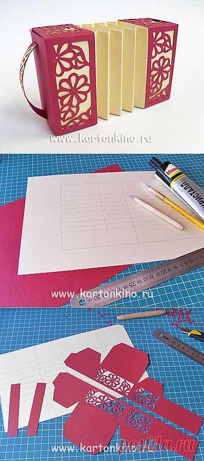 Гармошка из бумаги с резными узорами: подарочная коробочка и игрушка   КАРТОНКИНО.ru