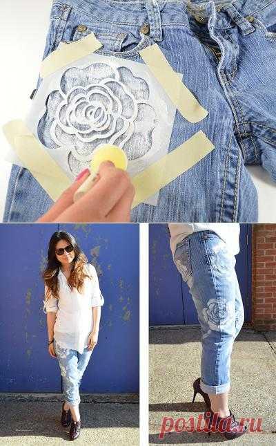 красивое оформление джинс цветами