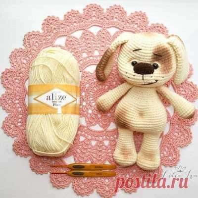 1000 схем амигуруми на русском: Вязаный щенок