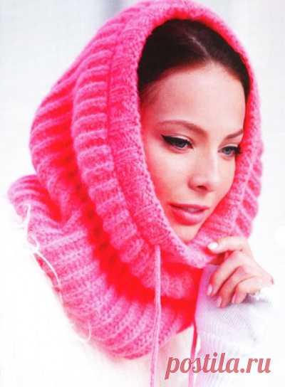 Вязание шарфа - трубы Pink Tube