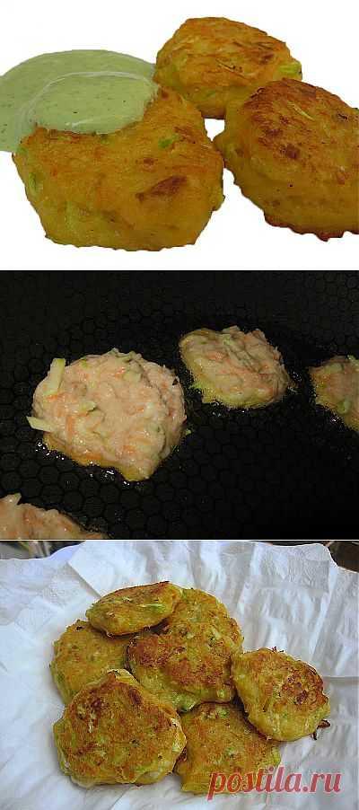 36. Овощные оладьи с соусом