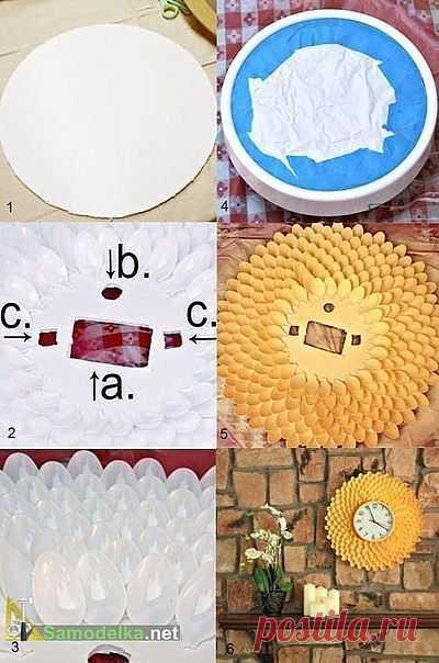 Часы-солнце из пластиковых ложечек