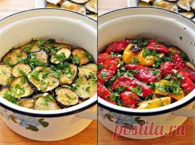 Готовим вкусно - Закуска из маринованных баклажанов и перцев-гриль