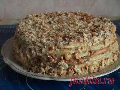 Торт с грецкими орехами и сгущенным молоком на сковороде рецепт с фото пошагово - 1000.menu