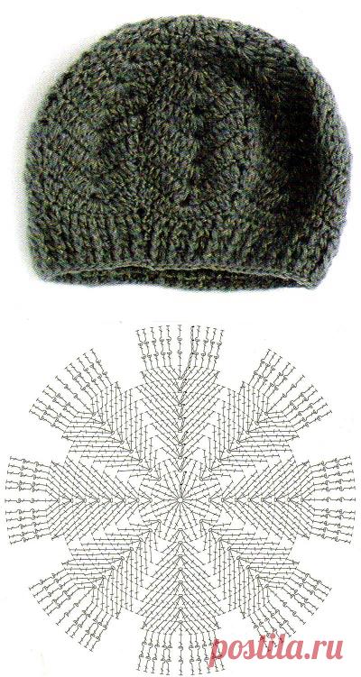 зимний берет из восьми клиньев схема вязание крючком вязание