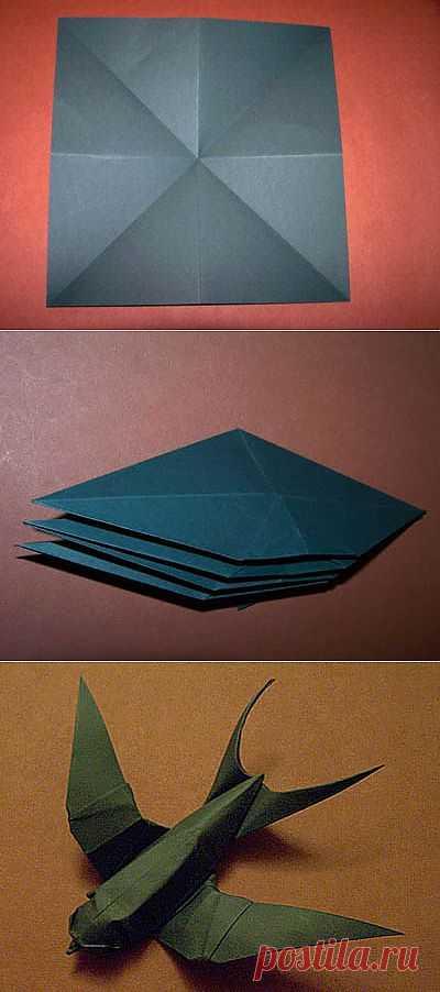 Сложная, но очень красивая модель оригами ласточка