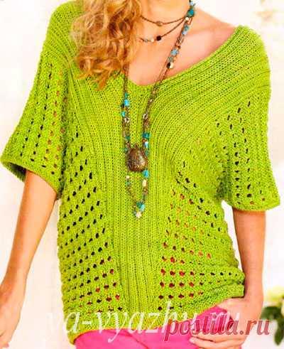 Необычный женский пуловер спицами с крупным сетчатым узором | Вязальное настроение...