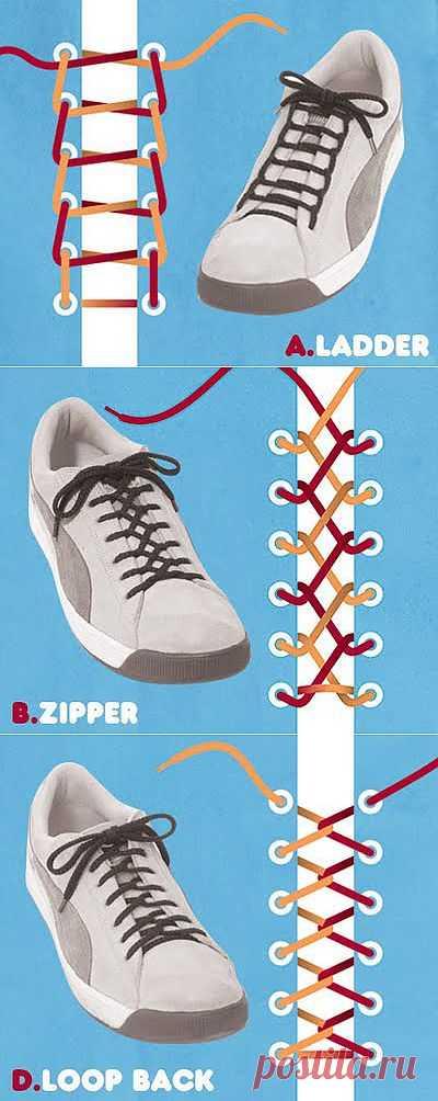 Оригинальные способы шнуровки. Необычная шнуровка может вдохнуть новую жизнь в самую неприметную пару обуви и сделать ее стильной и оригинальной. Перед вами 15 различных вариантов, которые помогут вам завязать шнурки крепко и креативно: