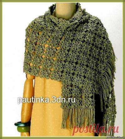 вязание палантина крючком из цветочных мотивов схемы вязания