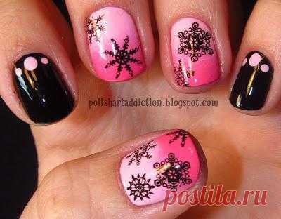 Polish Art Addiction: Pink & Black Snowflakes