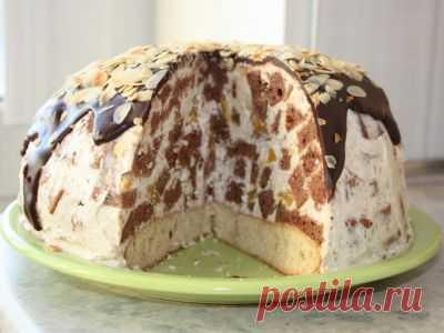 Торт «Панчо» с творожным кремом и персиками : Торты, пирожные