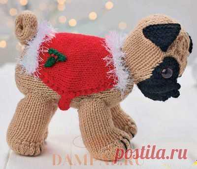 Вязаная собачка «Рождественский мопс» | DAMские PALьчики. ru